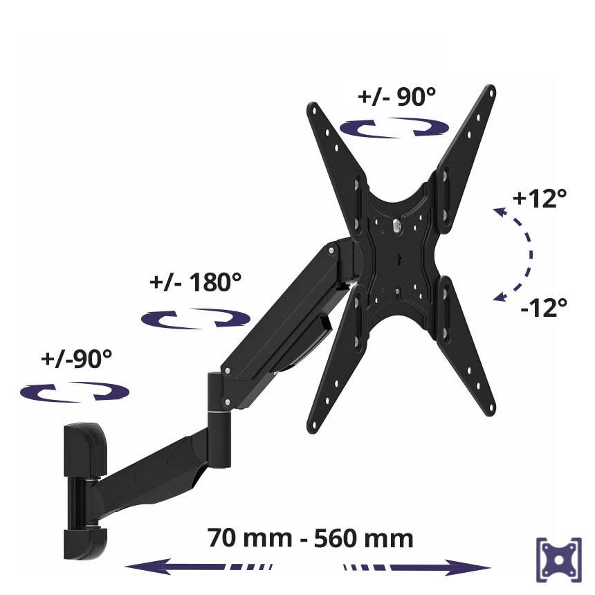 Výškově nastavitelný držák na televizi MC-784