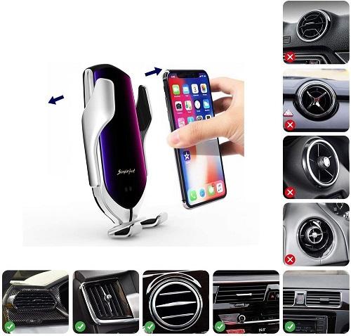 Špičkový držák na telefon nabíjecí do auta HS-R1 Elegance
