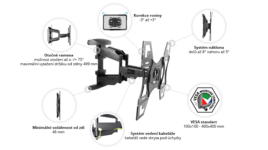 Speciální držák na TV s VESA 400x400 mm DF600